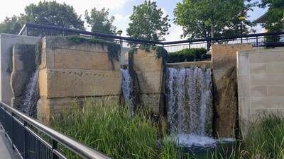Waterfall At White River State Park Celebration Plaza.  Where to Elope In Indy.  Marry Me In Indy!  Elope Indiana!